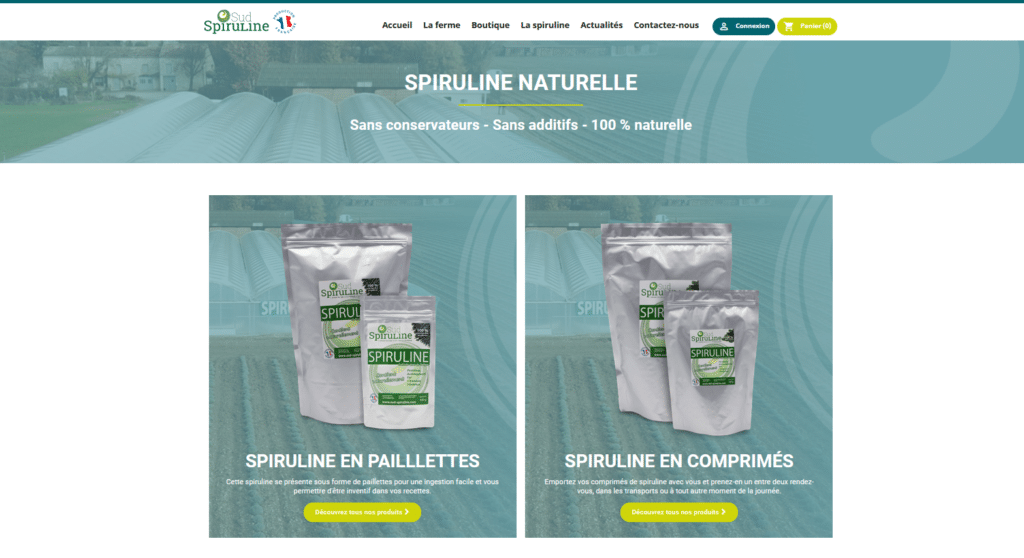 Boutique du site web Sud Spiruline.